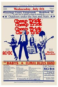 Classic Rock: Cheap Trick w/ AC/DC , Molly Hatchet Concert Poster 1979  12x18