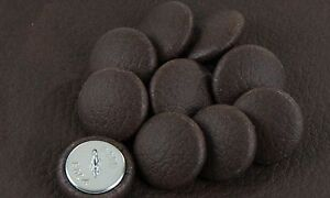 10 Upholstery buttons Dark Brown Faux leather 25mm