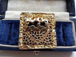 VINTAGE UNIQUE MODERNIST DESIGN GOLD TONE FINISH METAL SCARF CLIP BROOCH