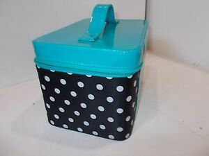 #3 Caboodles Gilded Pleasure Nail Valet White Polka Dots Black MISSING TRAY