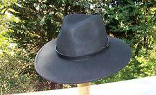 Brand New Wool Wide Brim Fedora Hat  (Small/Med.) Black