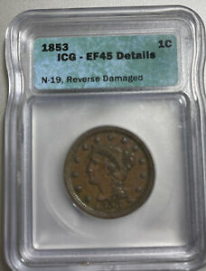 1853 Braided Hair 1 Cent EF-45 Large Cent ~ICG ~Very Clean Encapsulate Old Style