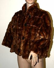 New $139 INC Whiskey Brown Cropped Swing Faux Fur Jacket Coat Large