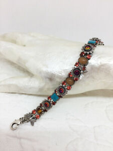 """Mary Demarco Designer Colorful Flowers and Bees Crystal Bracelet 7"""" Signed"""