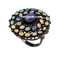 925 Sterling Silver Rose cut Diamond Ethiopian Opal Tanzanite Ring U-343
