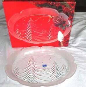 "NEW MIKASA STUDIO NOVA Crystal Christmas Tree Platter 15"" Frosted Starry Night"