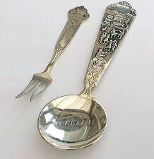 Norwegian Large Fancy Antique Commemorative Spoon & Lovely Pickle Fork