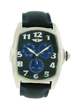 I by Invicta IBI70115-003 Men's Black Tonneau Analog Day Date Leather Watch