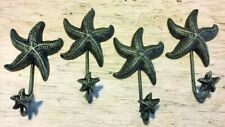 "Set Of 4 Antique Blue Gray Starfish Hooks ocean star fish seashell beach 6"" in"