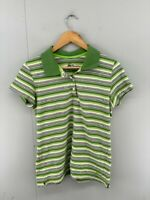 Nike Womens Green Striped Short Sleeve Collared Golf Polo T Shirt Top Size XL