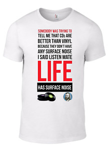 JOHN PEEL T-shirt LIFE HAS SURFACE NOISE Vinyl CD Quote record music indie dj W
