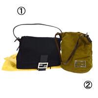 Authentic FENDI Mamma Bucket Shoulder Hand Bag 2 Set Black Vintage A36961e