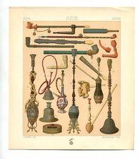 Antique Print Litho ASIA ORIENTAL PIPES THRU TIME 1888 Le Costume Historique