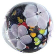 22mm MAGNOLIA Black/Purple Flower Handmade art glass Marble 7/8