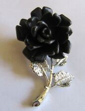 "Vintage Silver Tone Black Rose Brooch 2"""