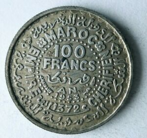 1953 MOROCCO 100 FRANCS - AU - High Quality Silver Coin - Lot #J25
