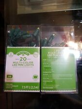 2 Sets Holiday Time 20 Battery Powered Multi Color LED Mini Lights Green Wire