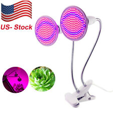 Dual Head 400 Led Plant Grow light desk clip holder bulb flower Greenhouse hydro