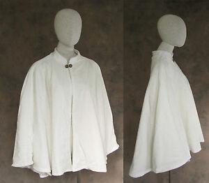 Victorian Ivory Velvet Lined Half Cape Cloak Civil War Dickens Cosplay Wedding