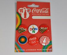 6 Coca-Cola Pins London Olympics 2012 Coke Olympic Buttons Badges Love Beat