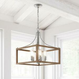 Home Decorators Boswell Quarter 5-Light Galvanized Pendant with Wood Accents