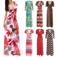 Womens Ladies Printed V Neck Short Sleeve Maxi Long Dress Party Beach