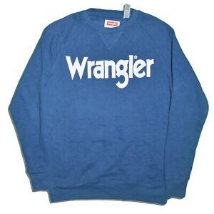 Navy M Wrangler Mens Logo Long Sleeve Crew Neck Pullover Sweatshirt