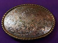 Signed W  Western Cowboy Rodeo Flower pattern swirl Cowboy Cowgirl Belt Buckle