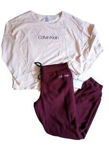 CALVIN KLEIN Women`s 2pc pajama set t shirt Joggers CK Logo