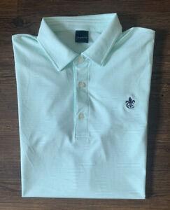 Dunning Golf Mens Casual Golf Polo Sz M Mint Green White Golf Course Logo