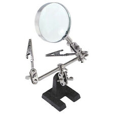 Third Hand Tool Soldering Stand With 5x Magnifying Glass 2 Alligator Clips Y9v7
