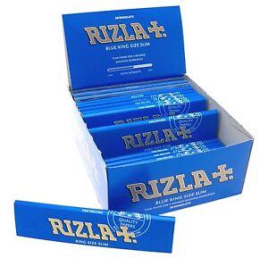 RIZLA BLUE KING SIZE SLIM Blue Genuine Smoking Paper Rolling  full box 50