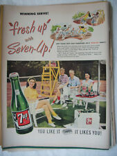 1948 VTG Original Magazine Ad 7 Up Soda The Winning Serve Family Plays Doubles