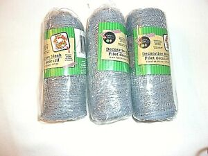 """Crafters Square Deco Mesh 4 Rolls Metallic Silver 6""""X 5' DIY Wreaths Bows NEW"""