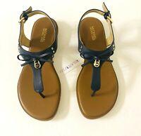 Women MK Michael Michael Kors Everett Thong Buckle Up Flat Sandals Navy