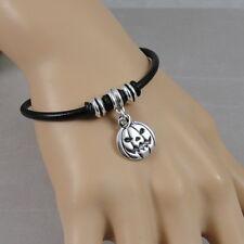 Jack O Lantern Bracelet - Halloween Pumpkin Charm Bracelet - Black Leather Cord