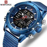 NAVIFORCE Männer Uhr Top Luxus Marke Sport Quarz Uhren Edelstahl LED Digitaluhr