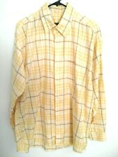 Burberry London Mens Large Yellow Plaid Cotton Long Sleeve Button Up Dress Shirt