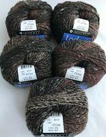 5 Berroco Lodge Yarn Skeins #7465 Iron Mountain Browns Grey Self Striping Flecks