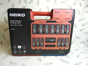 "Neiko 02476A 1/2"" Drive Deep Impact Socket 14 Piece Set"