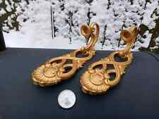 Vintage 1988 Homco Plastic Gold Tone Wall Sconces Candle Holders