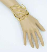 "Alexis Bittar Textured Gold-Tone ""Rocky Leaf"" Crystal Cuff Bracelet"