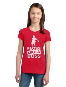 Floss Like a Boss Funny Emote Flossing Dance Girls' Fitted Kids T-Shirt