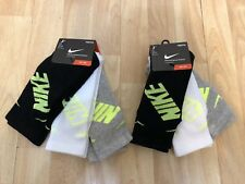 Lot 2 - 3 Pair Nike Kids Crew Socks Shoe Size 5Y-7Y Black White Gray Cotton NWT
