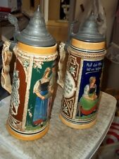 """2 PC LOT 12"""" GERMANY MARKED BEER STEIN MUGS WITH PEWTER TOP LIDS DETAILED BEAUTY"""