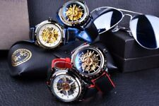 Motorcycle Design -  Red Black Belt Waterproof Skeleton Men Automatic Watches