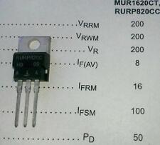 5 Stück RURP820C 8A 200V Dual Ultrafast 25ns Diodes (MUR1620C)TO220AB (M1539)