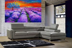 A0 SUPER SIZE CANVAS landscape art painting print great color purple tree sunset