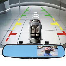 "HD 4.3"" 1080P Dual Len Video Recorder Dash Cam Rearview Mirror Car Camera DVR E"