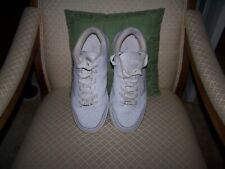 Men's White Leather Tennis Shoes ,CNZN Shoes,Size10 Med